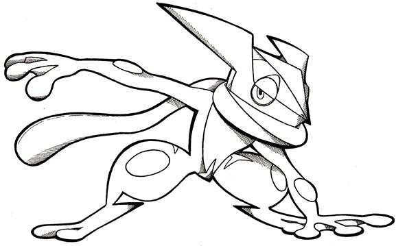 Sketch greninja by mythgraven on deviantart for Coloring pages of greninja
