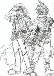 Squall and Cloud by halogenic