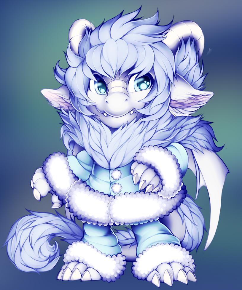 Fluffy Dragon by WibbleyWobbleys