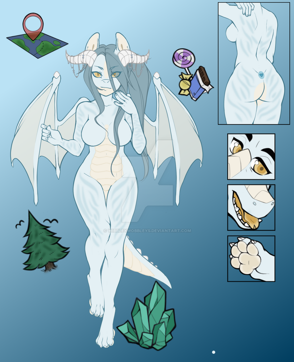 Ice Dragon Adopt (SOLD) by WibbleyWobbleys