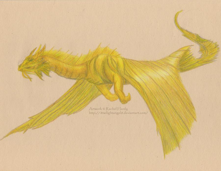 Gold Dragon in Flight by 8TwilightAngel8