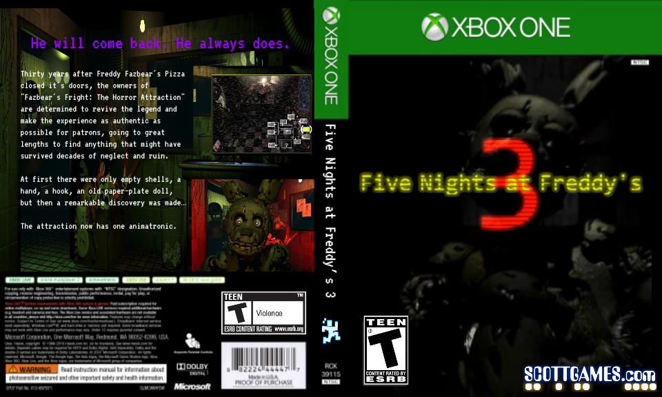 Book Cover Background Xbox One ~ Fnaf cover for xbox one fake by crazed on deviantart