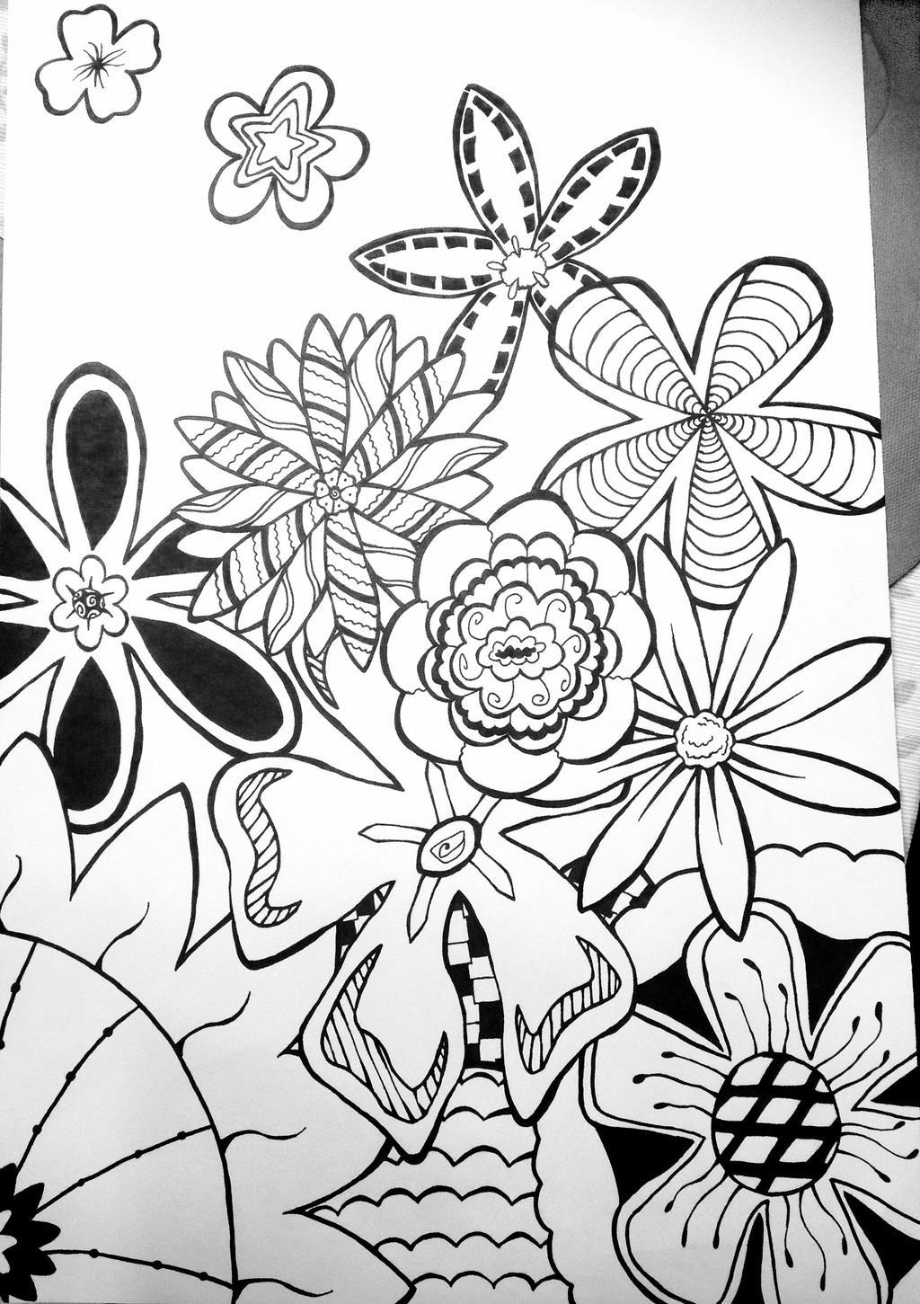 Zentangle Flowers by Birchflame23