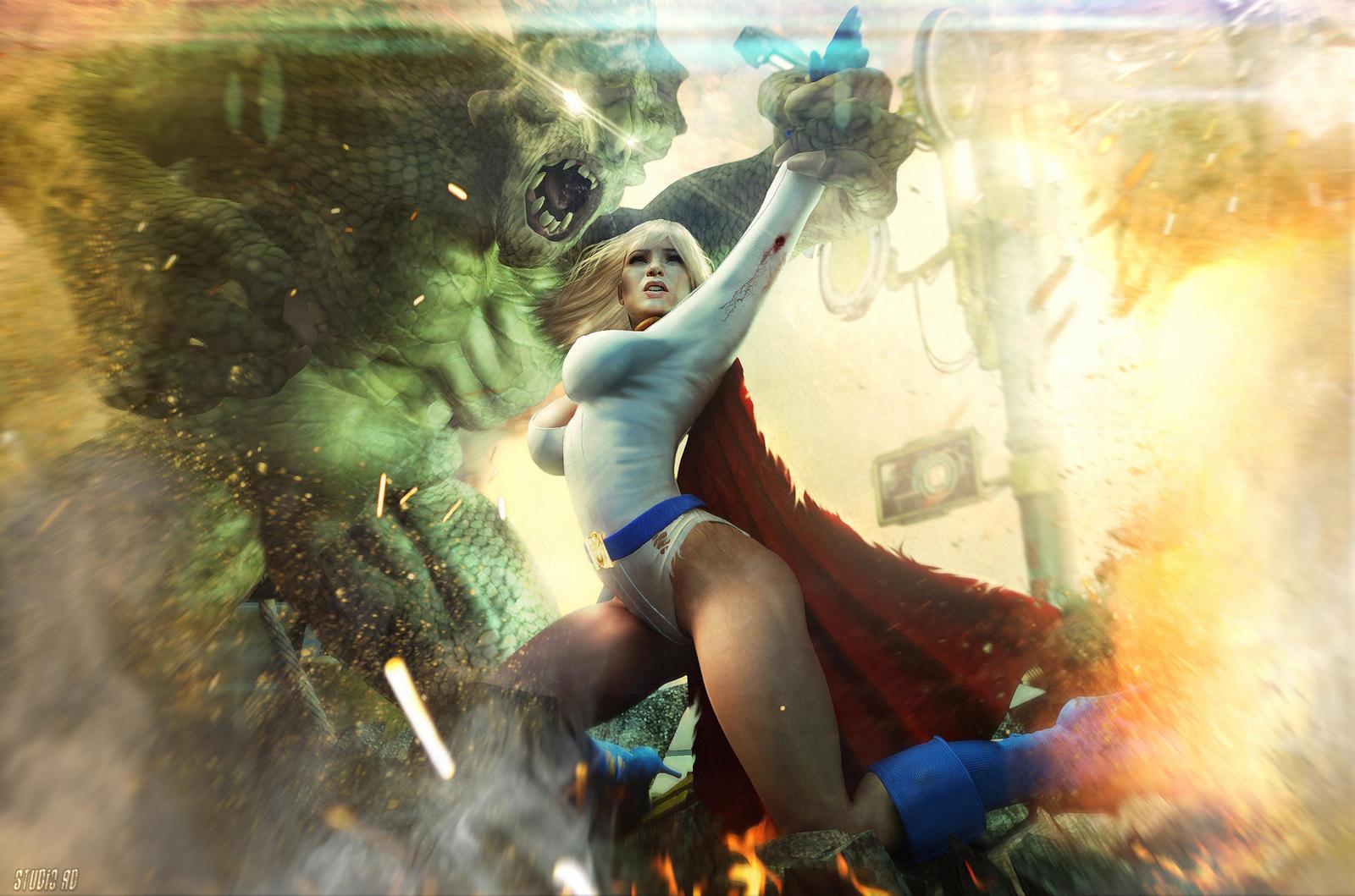 powergirl battle by artdude41