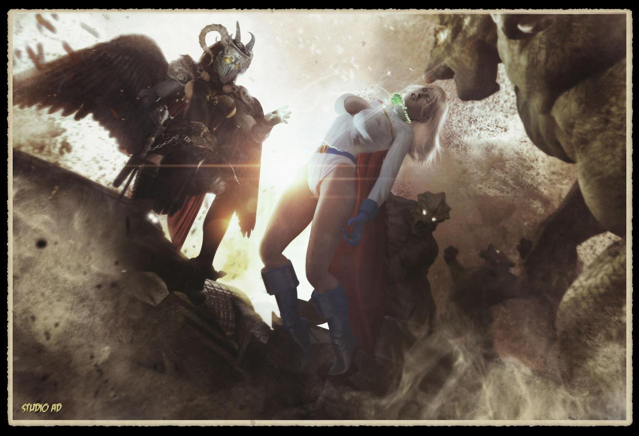 Wonder Woman Defeated Deviantart Powergirl defeatby artdude41