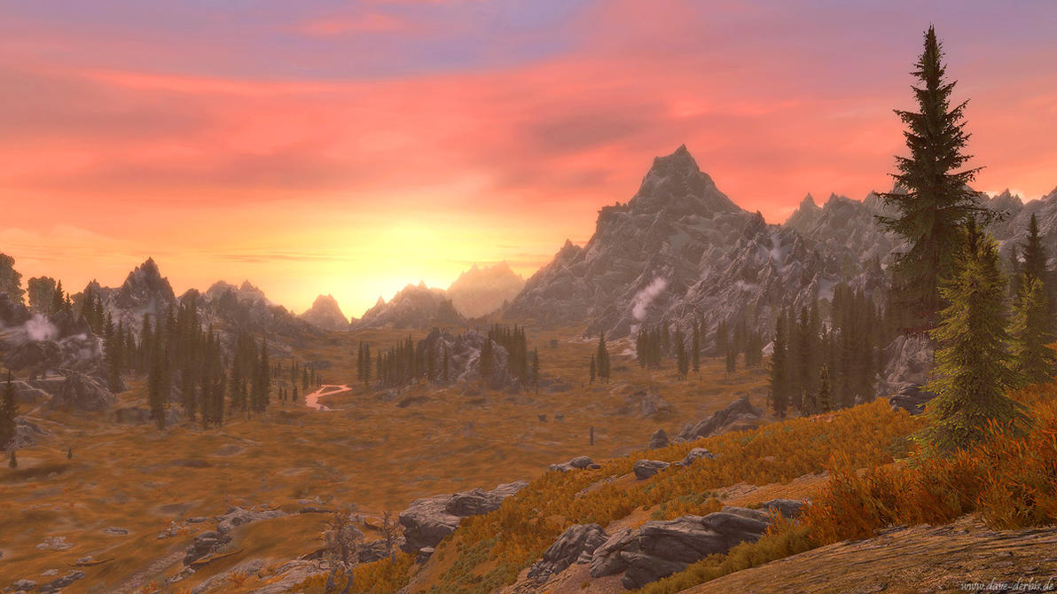 Skyrim Sunset by Dave-Derbis