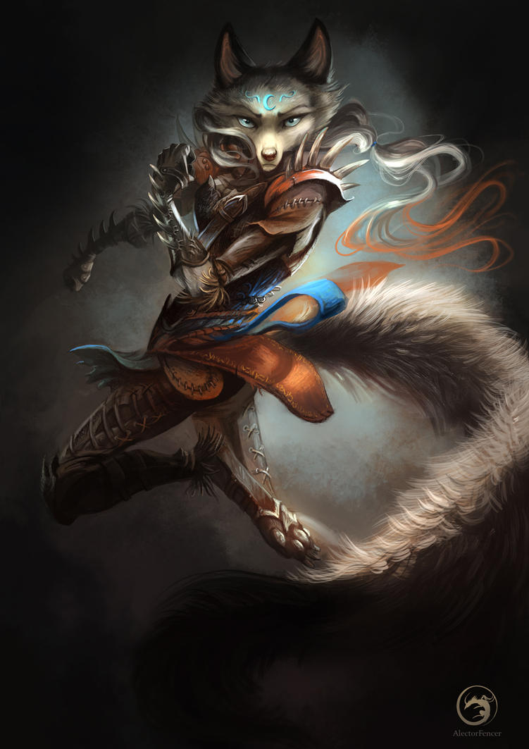 Wolftale Dragon Rider by AlectorFencer