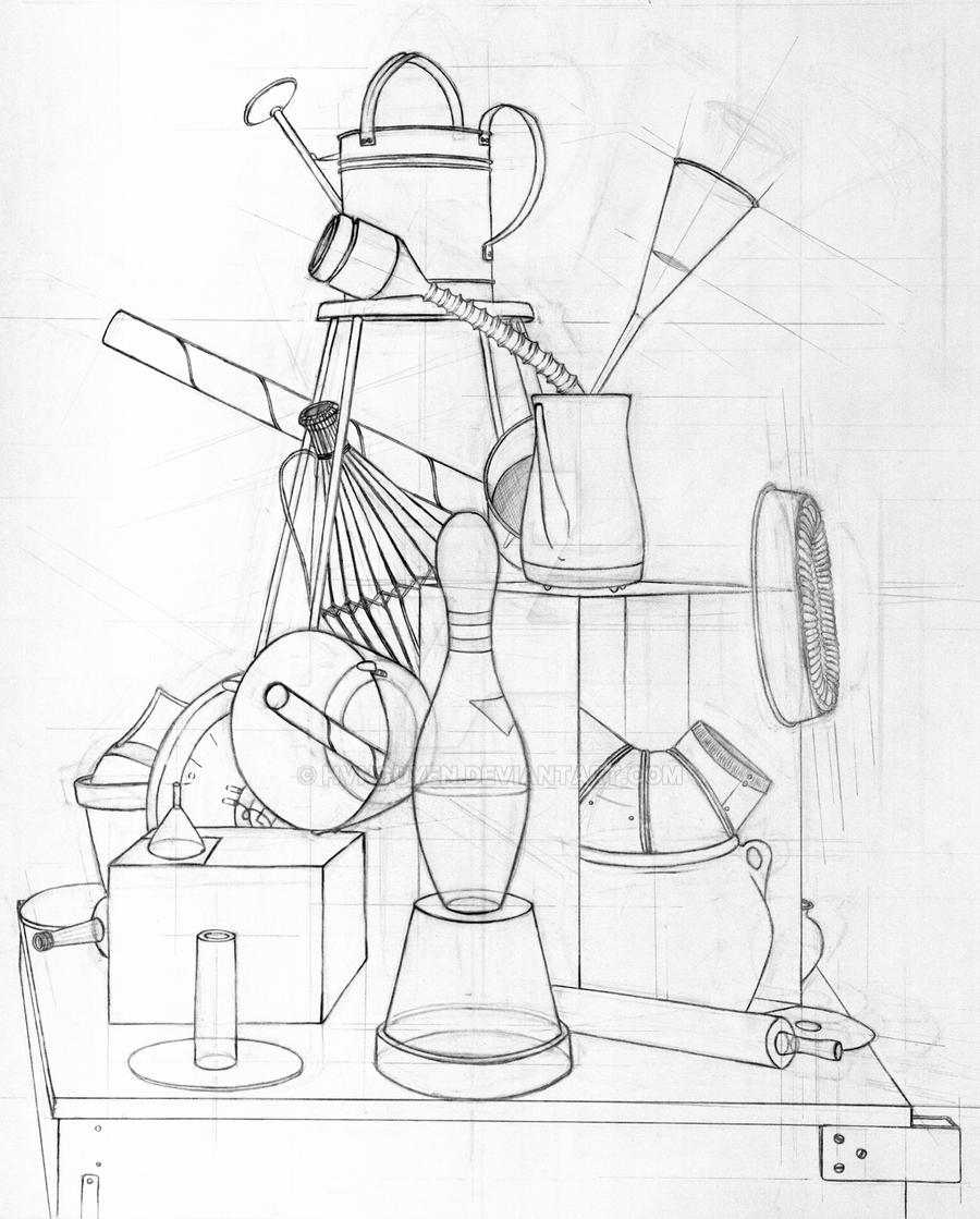 Contour Line Drawing Of Still Life : Still life drawing by hvnguyen on deviantart
