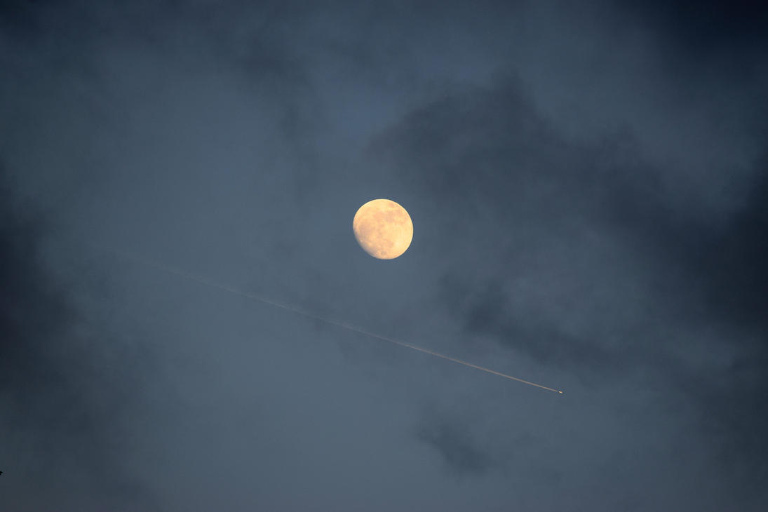 Plane passing by the Moon by Caine-of-Nod