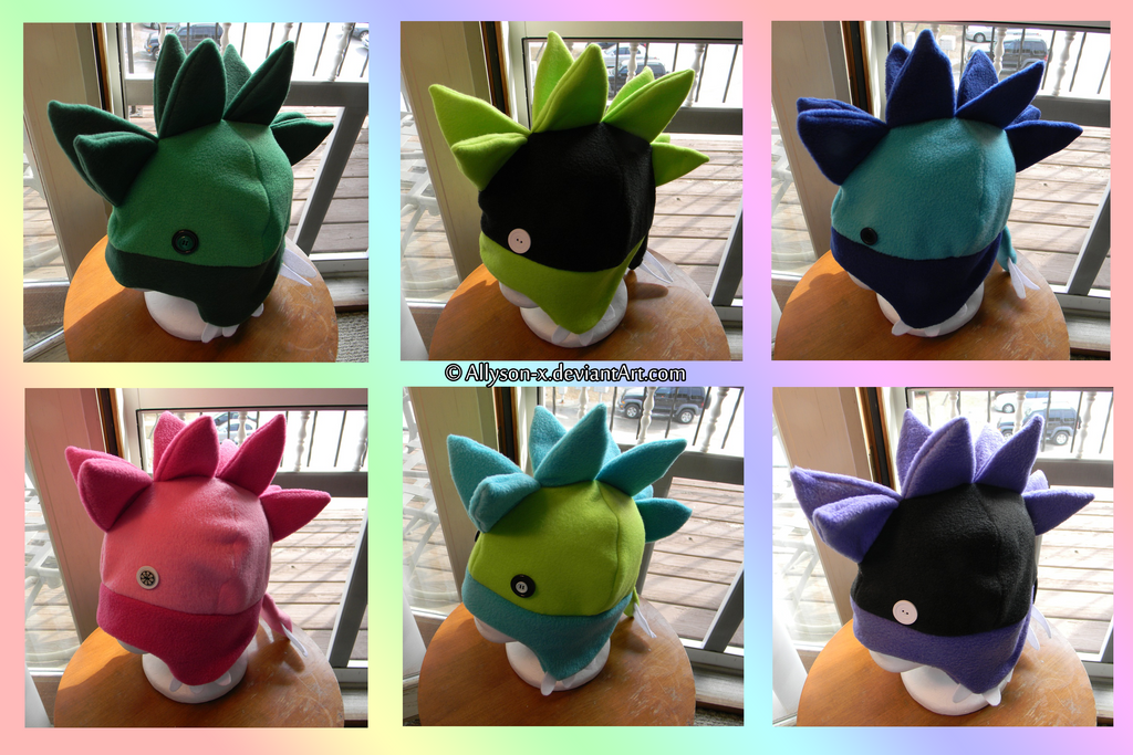 Rainbow Stegosaurus Hats by Allyson-x
