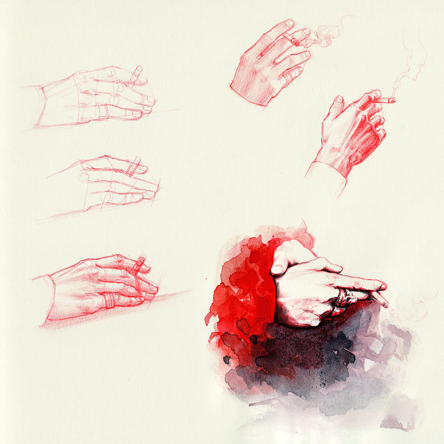 Die, study of smoking hands #1 by Wanda-Sternchen