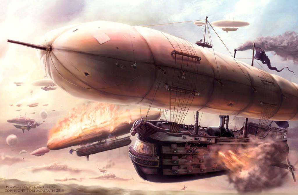 The Airship Battle by SpikedMcGrath