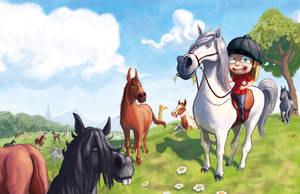 All the princess' ponies by SpikedMcGrath