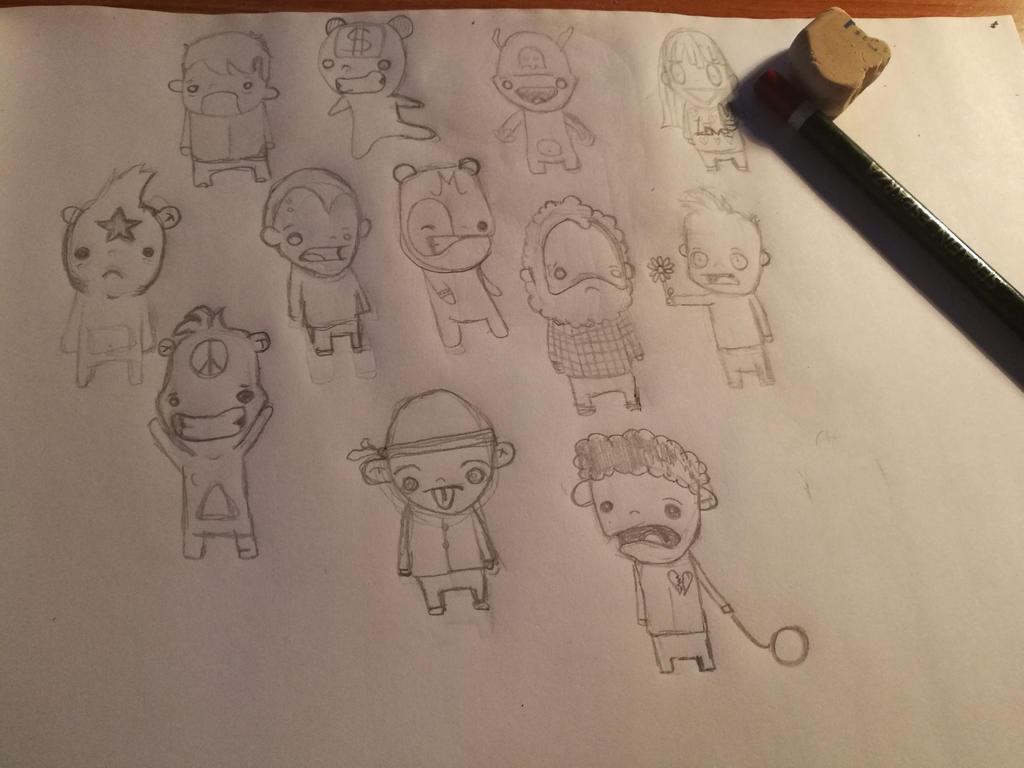 #bocetos #littles #bigheads #practicando # pencild by enagur