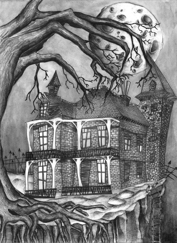 Drawings of haunted houses 28 images haunted house Haunted house drawing ideas