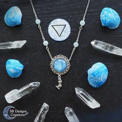 Mermaid aquamarine necklace Water marble by Nyjama