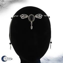 Dark fairy headdress - Fantasy circlet-Black Agate by Nyjama