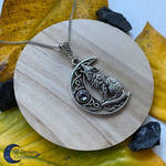 Wolf neclace Crescent Moon Howling Wolf