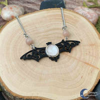 Black bat vampire necklace with sunstone