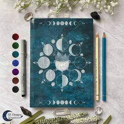 Moonphases Cauldron Notebook A5 Book of Shadows