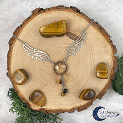 Tygereye winged fantasy necklace