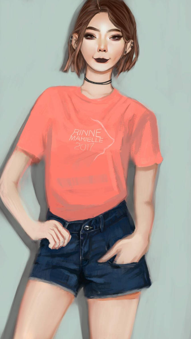 Simple Pink T-shirt  by rinnemarielle