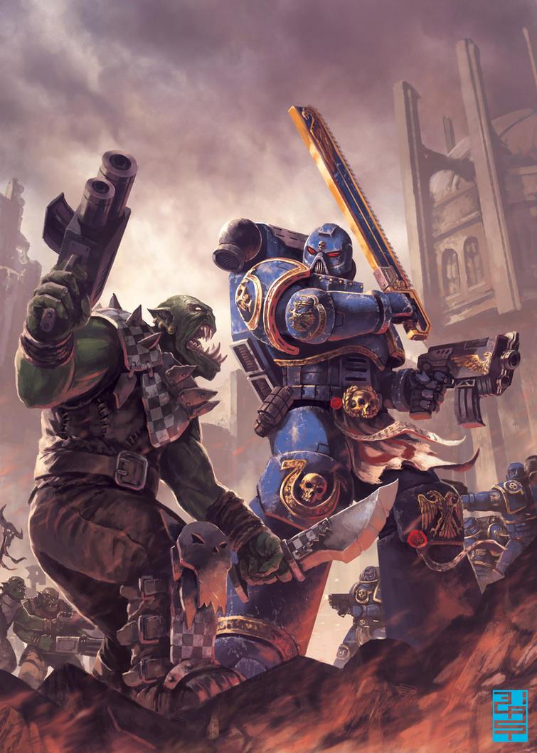 Space Marine vs Ork- by XRobinGoodFellowX