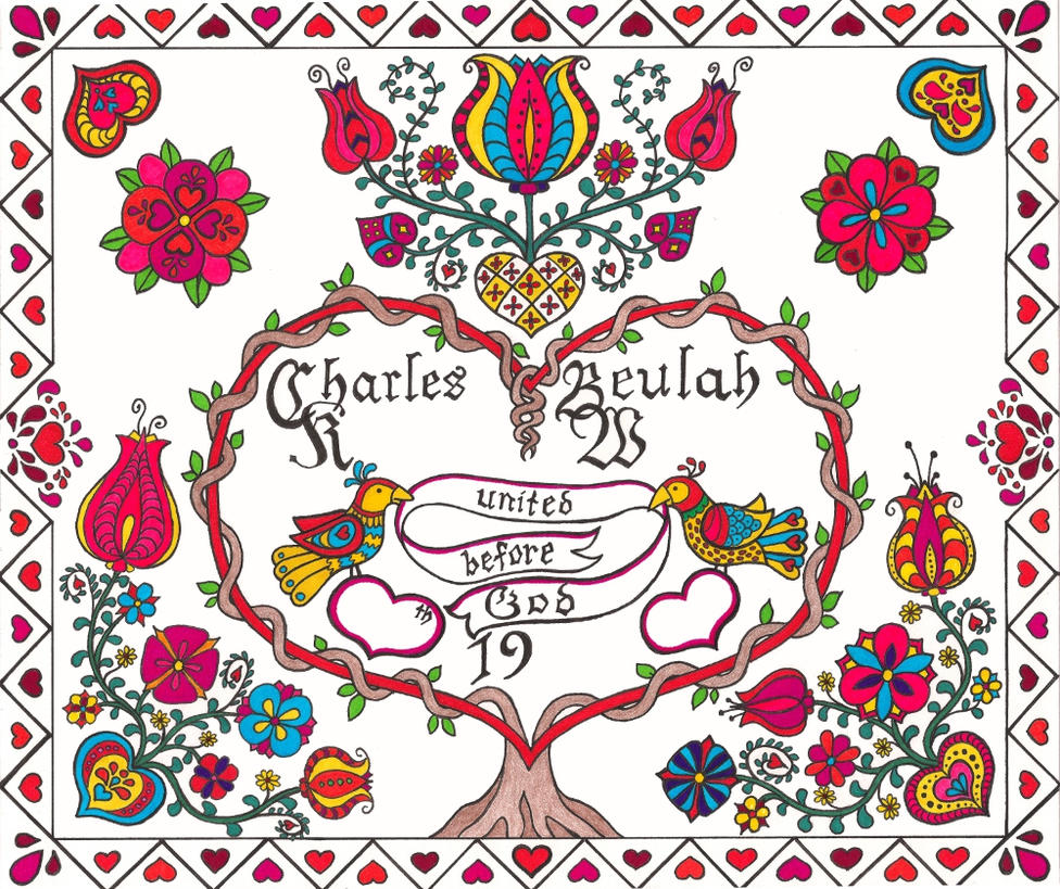 Fraktur Wedding Design Certificate - Colored by plaidsandstripes