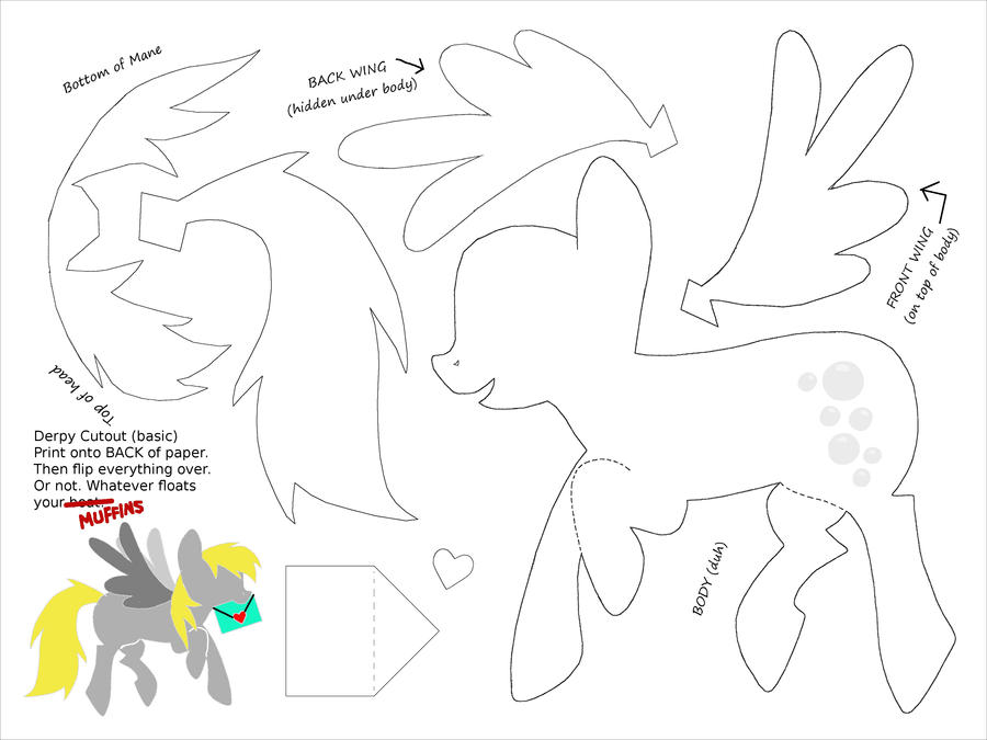 Derpy cut out template for paper art by plaidsandstripes for Paper cut out art templates
