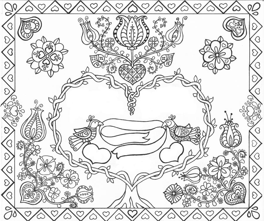 Fraktur Certificate (Wedding or Birth) - Lineart by ...