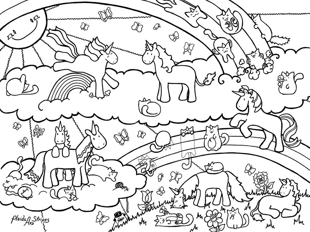 Unicorn And Caticorn Coloring Page By Plaidsandstripes On Rainbow Unicorn Coloring Pages