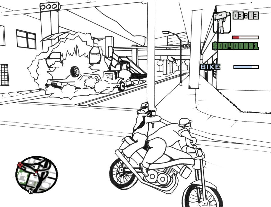 Gta San Andreas Coloring Page2 By Plaidsandstripes On Deviantart Gta 5 Coloring Pages