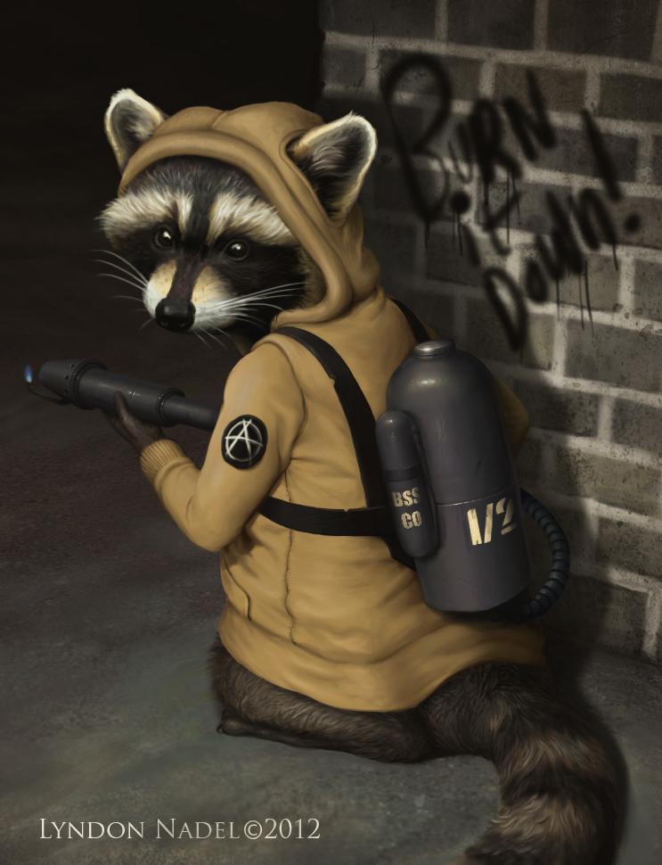 Raccoon Anarchist - Burn Baby Burn by squiffel