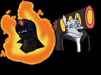 Flare Thrax and Icee jones by FireBoltPug