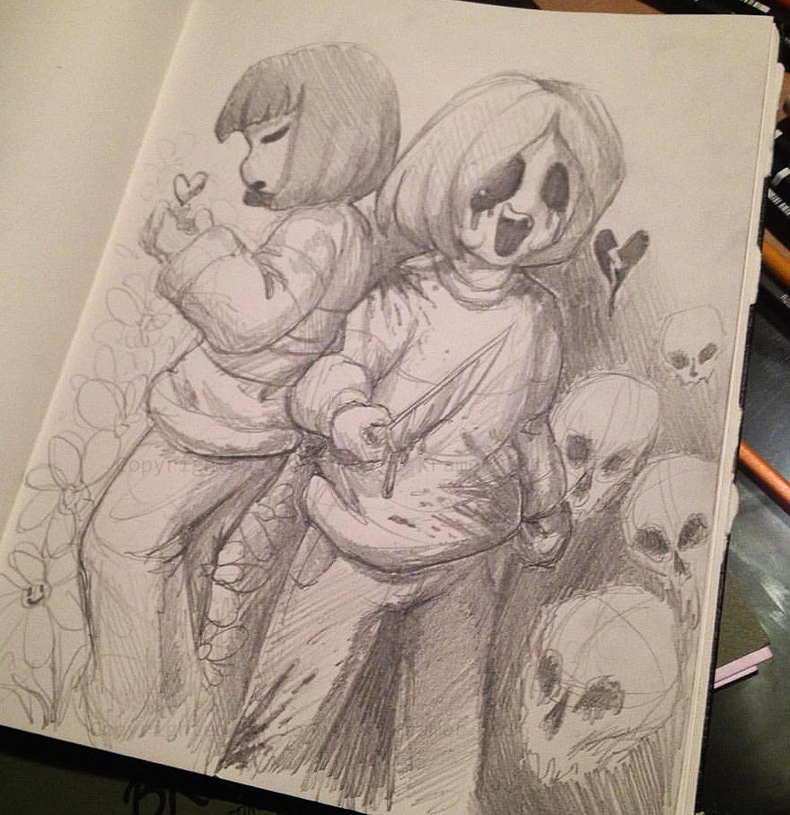 Frisk and Chara - Undertale by Jenni-san