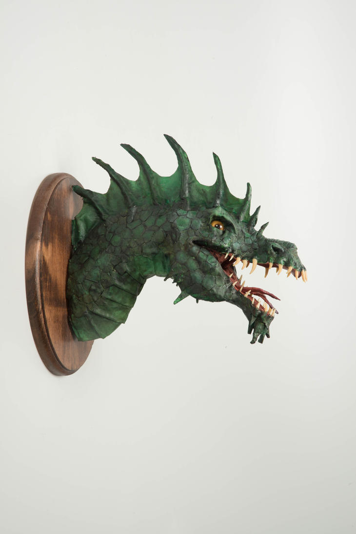 Paper Mache Dragon Head Trophy by MandieLaRue