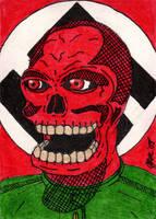 Red Skull Sketch Card by jamsketchbook