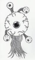 Floating Eyeball Monster by jamsketchbook
