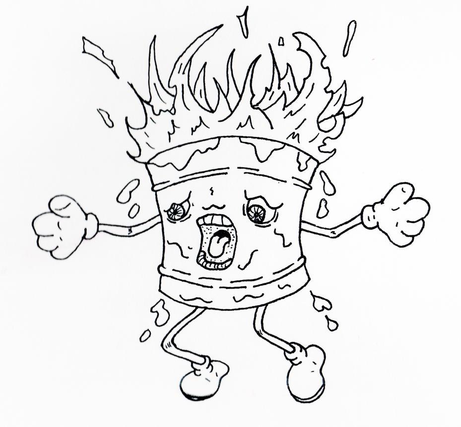 Birthday Cake On Fire! by jamsketchbook