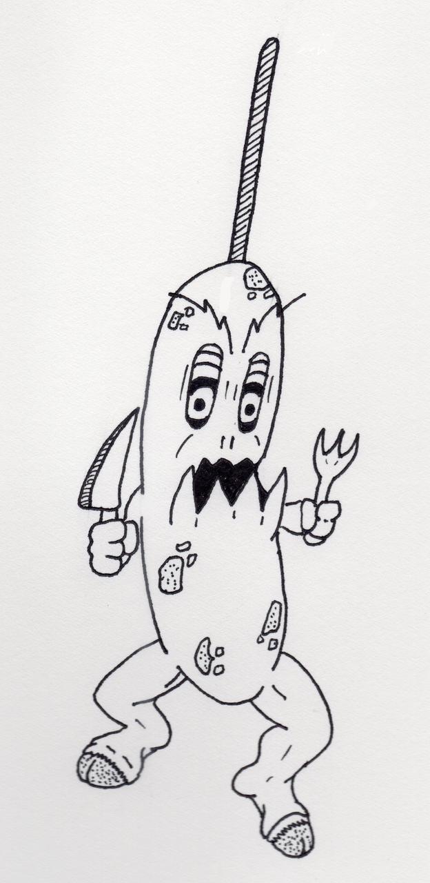 Killer Corndog Monster by jamsketchbook