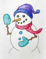 Snowman Waving by jamsketchbook