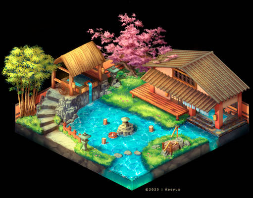 Japanese Onsen - Isometric Game Art Concept