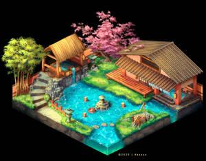Japanese Onsen - Isometric Game Art Concept