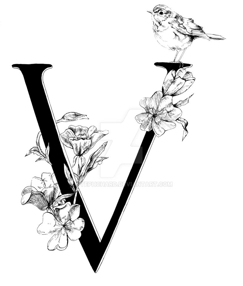 V with Violets and Veerly Bird by stephchard
