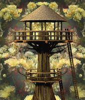 Natures TreeHouse Background by mysticmorning
