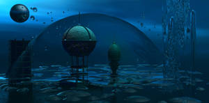 Space Under Sea Background