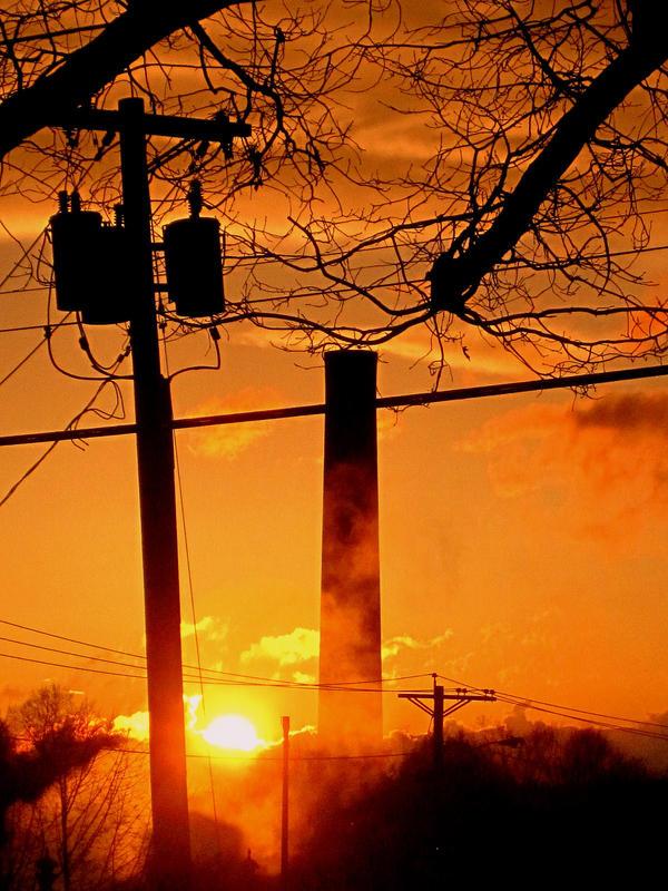 Smokestack Sunset by ashleymphoto