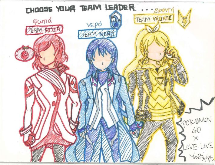 PokemonGOxLoveLive_Team Leaders by shade1995