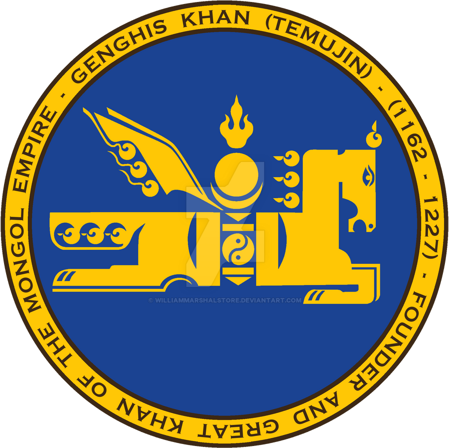 Genghis Khan Mongol Symbol Seal Blue And Gold By