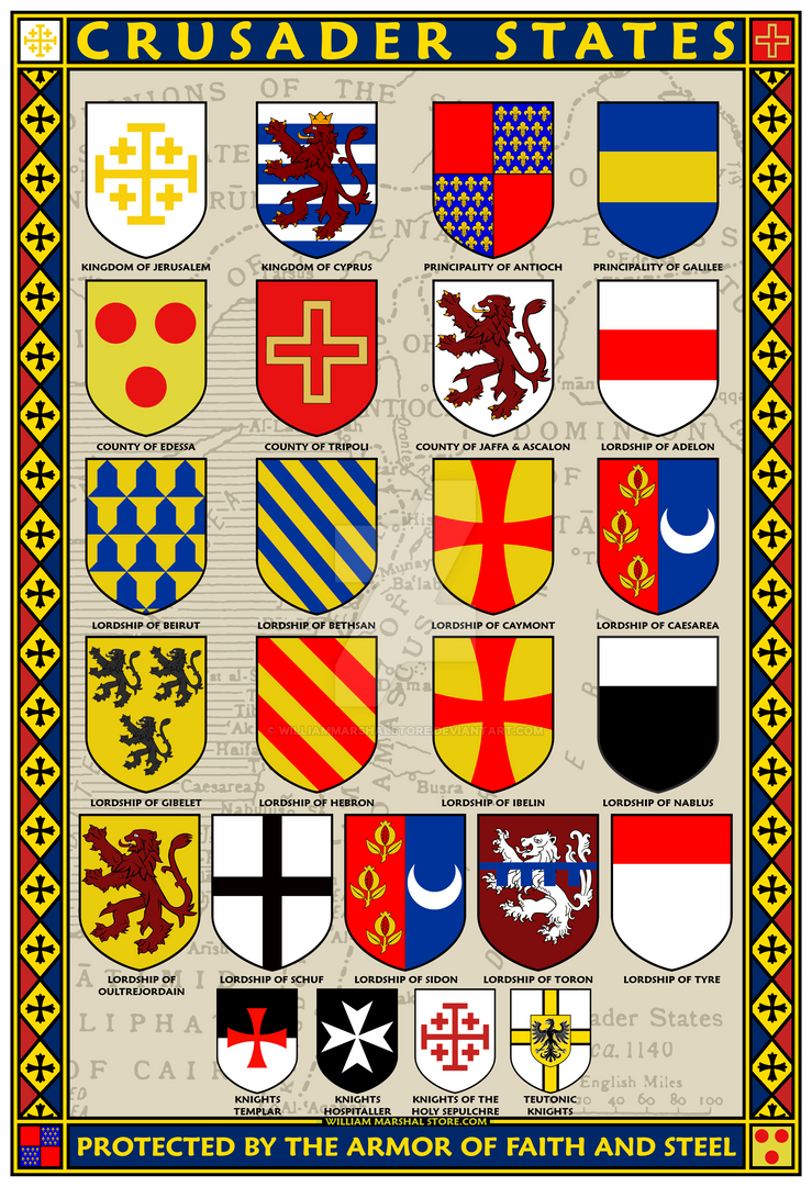 Crusader States 13x19 Coat of Arms Poster by williammarshalstore